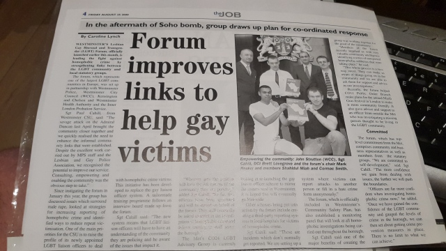article about the creation of the Westminster LGBT Forum in the Job 25th August 2000